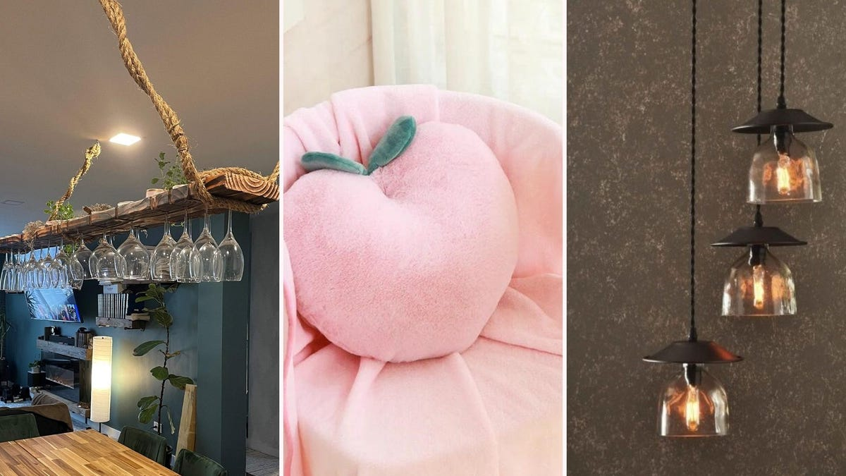 A hanging wine glass rack, a peach-shaped pillow and matching throw, and a bottle chandelier.