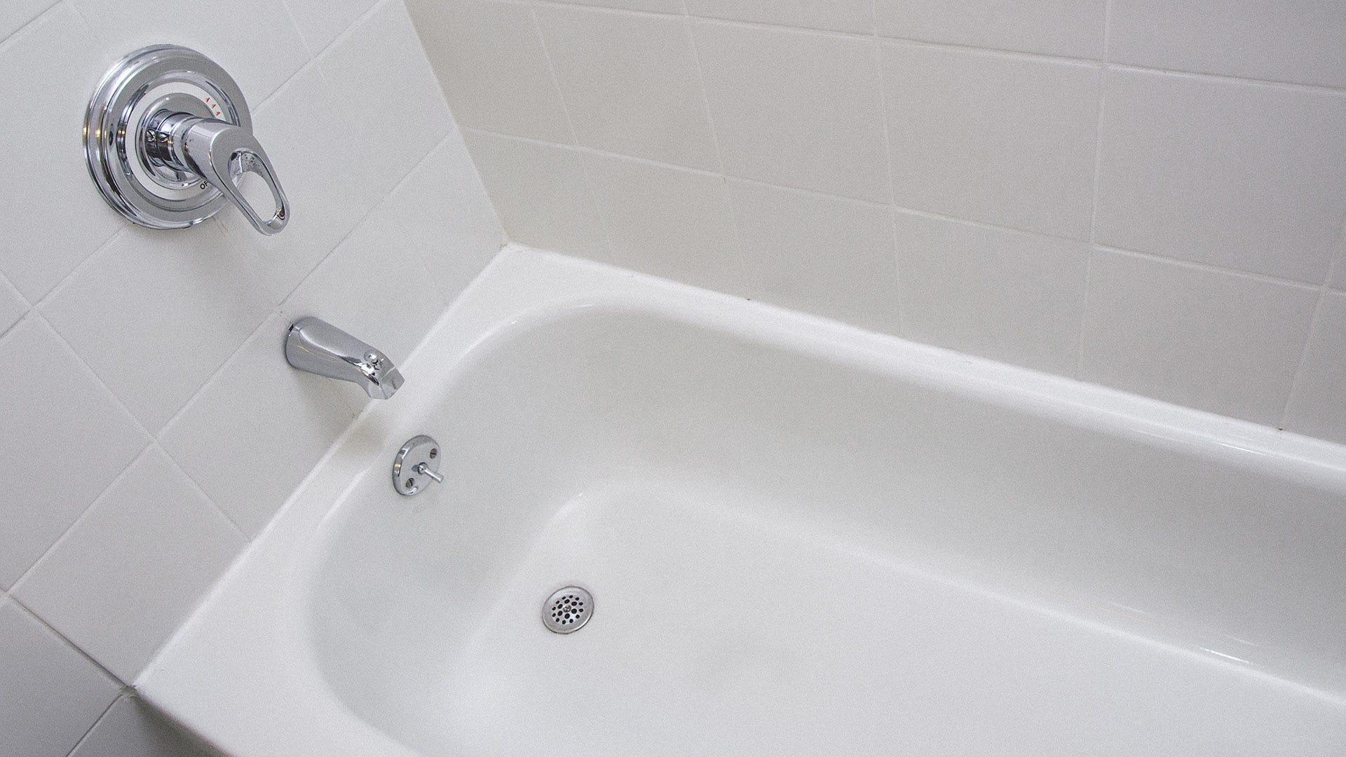 A clean white porcelain tub.