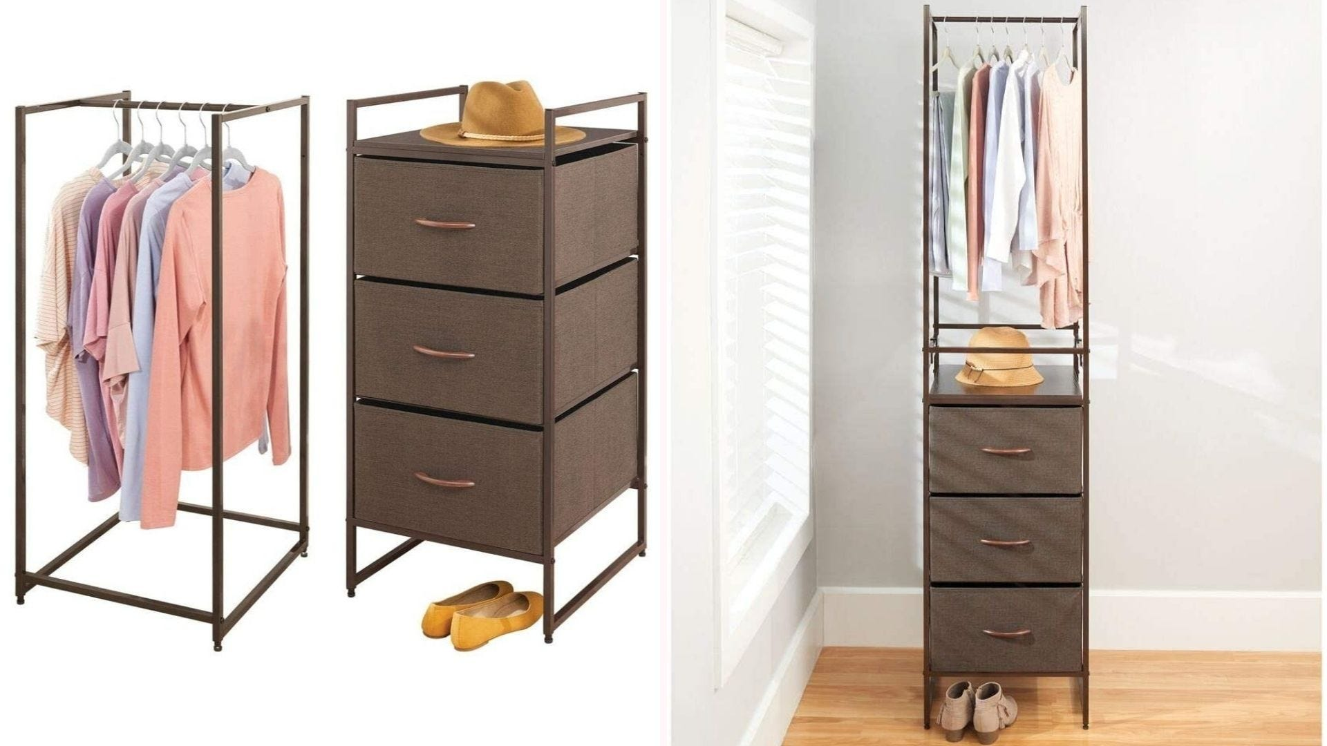 Images of 2-piece stackable clothing rack.