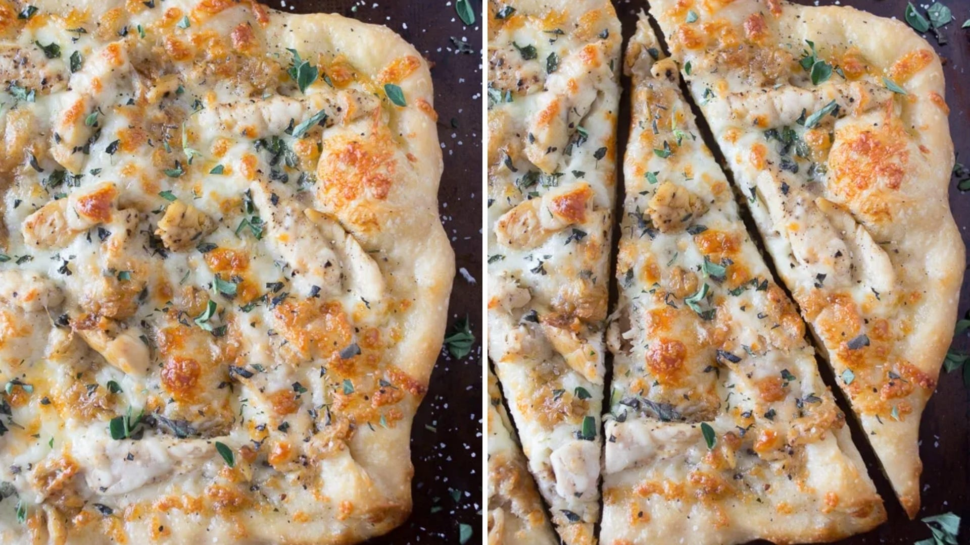 Two photos of white pizza with chicken and parsley.
