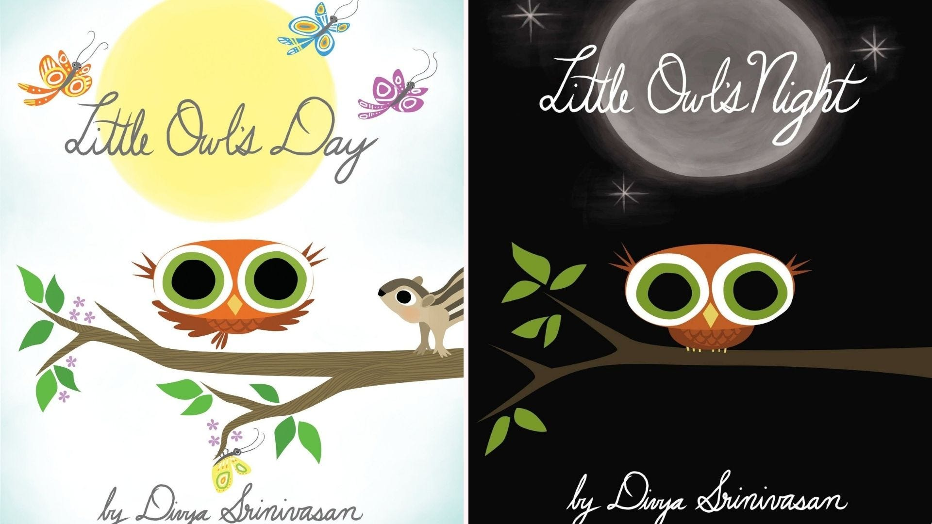 The left image is the cover of Little Owl's Day and the right image is the cover of the book Little Owls Night, both written by Divya Srinivasan.