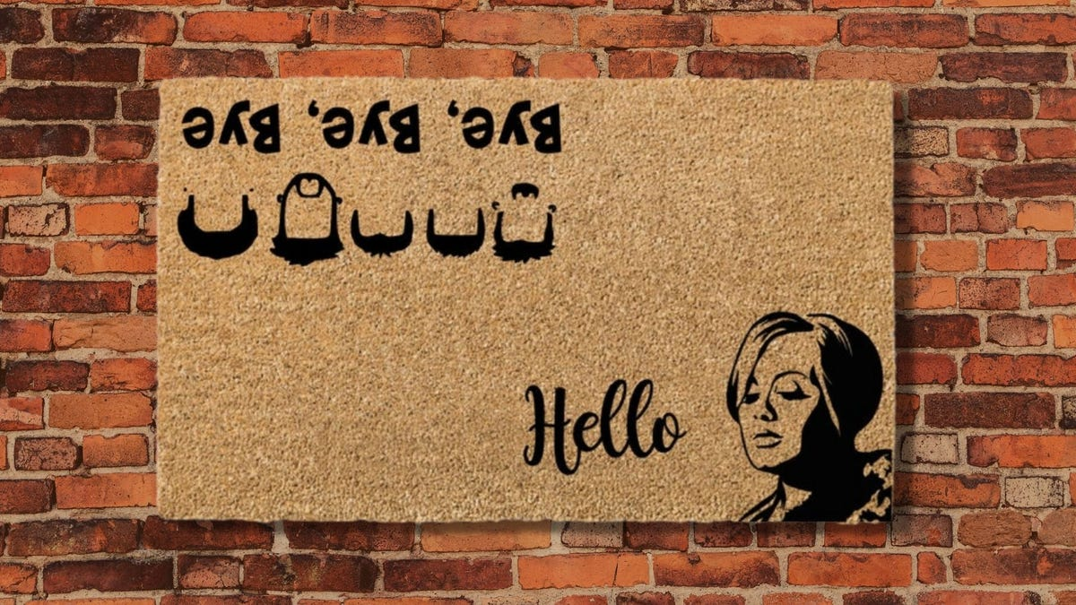 A welcome mat with a quirky pun.