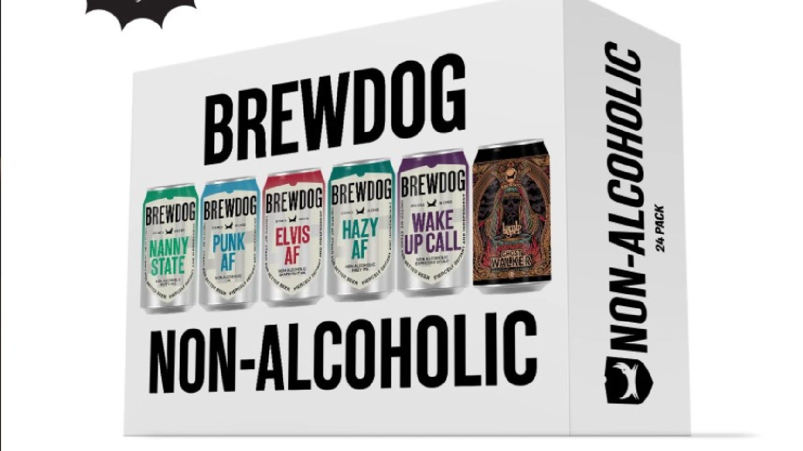 A variety 24-pack of BrewDog non-alcoholic beer displayed on a white background.