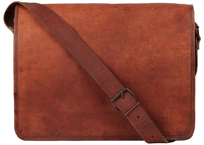 a rustic, simple brown leather messenger bag