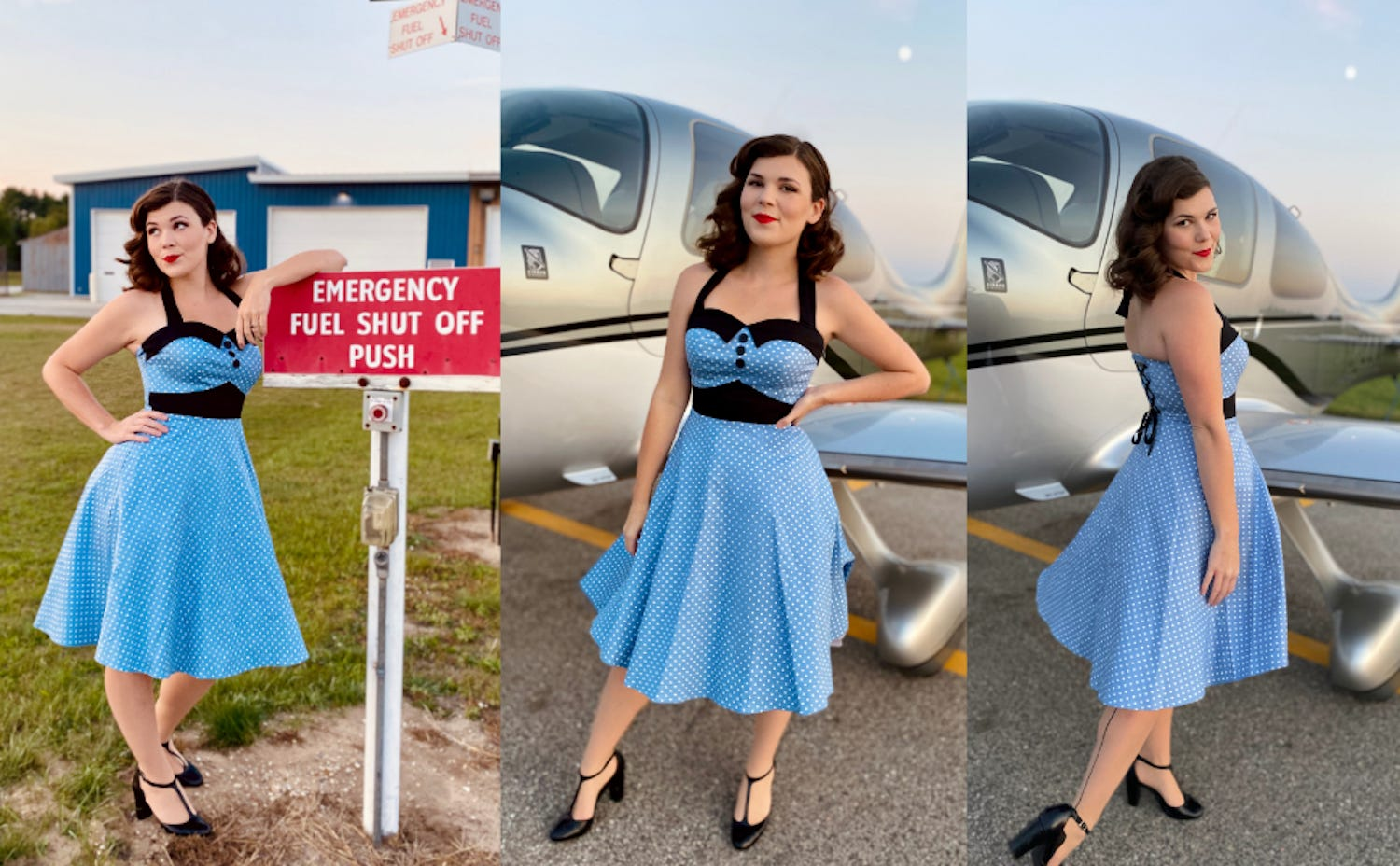 A woman in a blue and black polka dot retro halter dress