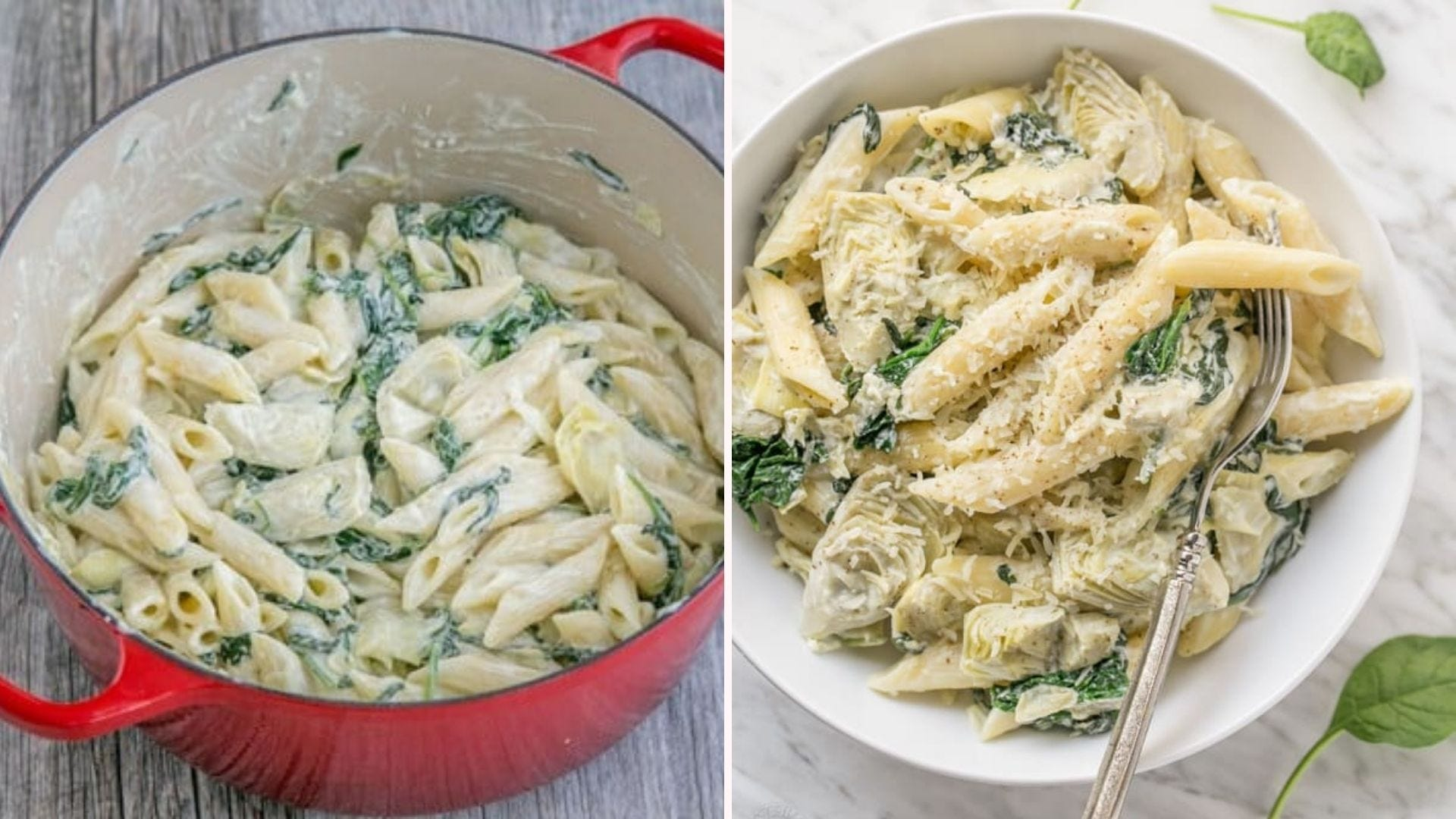 Two images: The left image is of an enameled Dutch oven filled with spinach and artichoke pasta, and the right image is of a bowl of the same pasta, topped with fresh grated parmesan cheese.