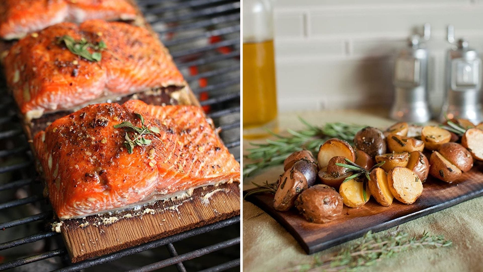 Two images: The left image is of three salmon filets sitting on top of a plank on a grill and the right image is of grilled potatoes sitting on a plank by Wood Fire Grilling Co.