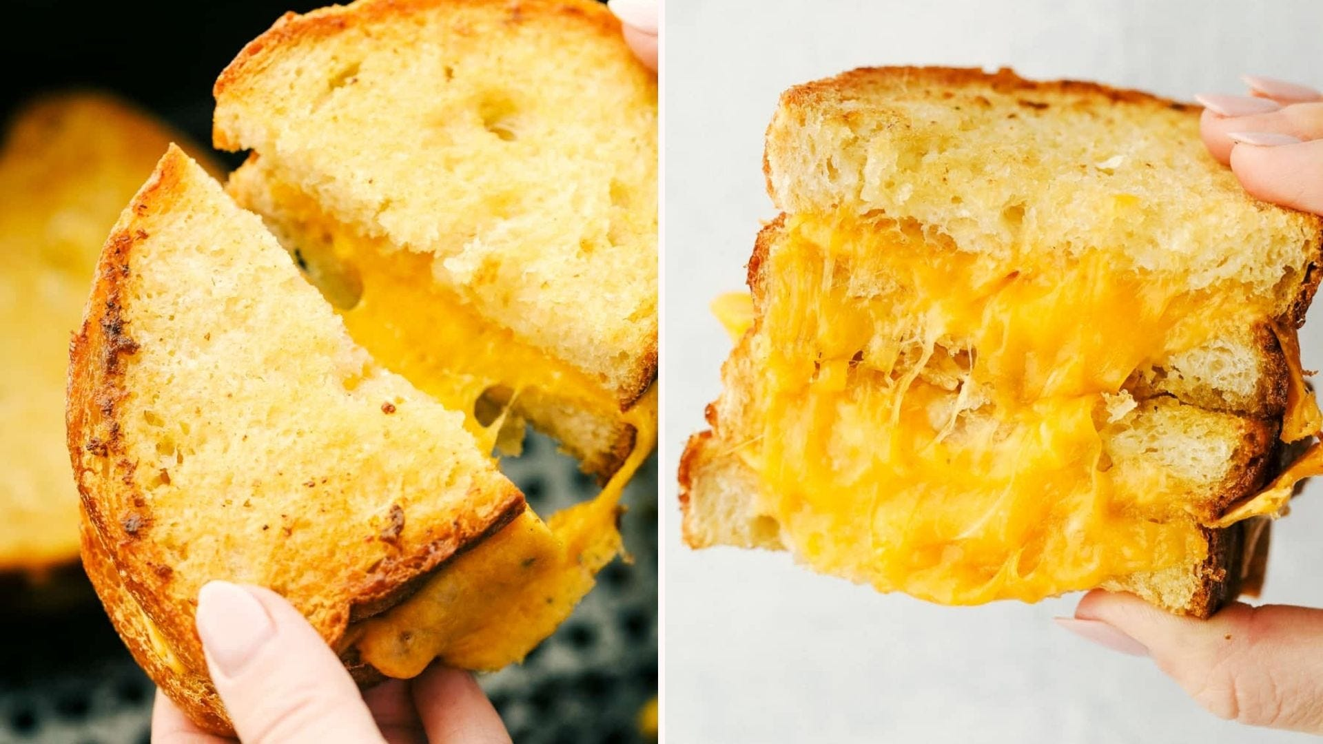 Two images: The left is of a woman holding a grilled cheese sandwich and fulling it apart for an ultimate cheese pull, and the right image is of the sandwich stacked to show the gooey cheese on the inside.
