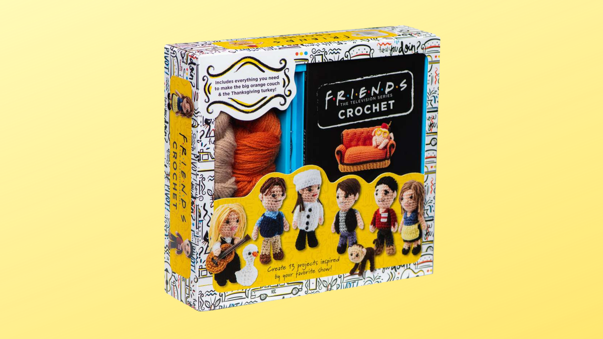 """The """"Friends"""" Crochet box with the six main characters from """"Friends"""" as crocheted figures on the front."""