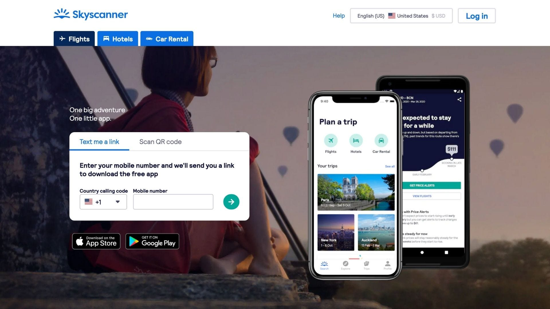 An advertisement shows the features of a flight booking app called Skyscanner.