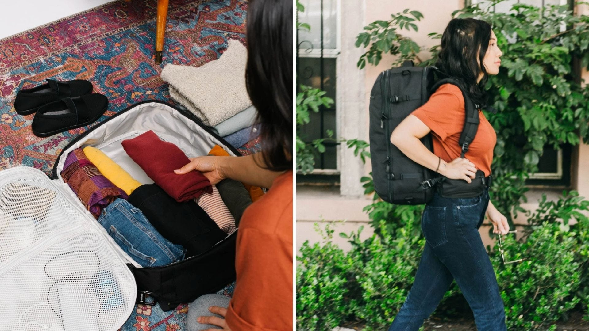 Someone packs a backpack like a suitcase and a woman wears a large travel backpack