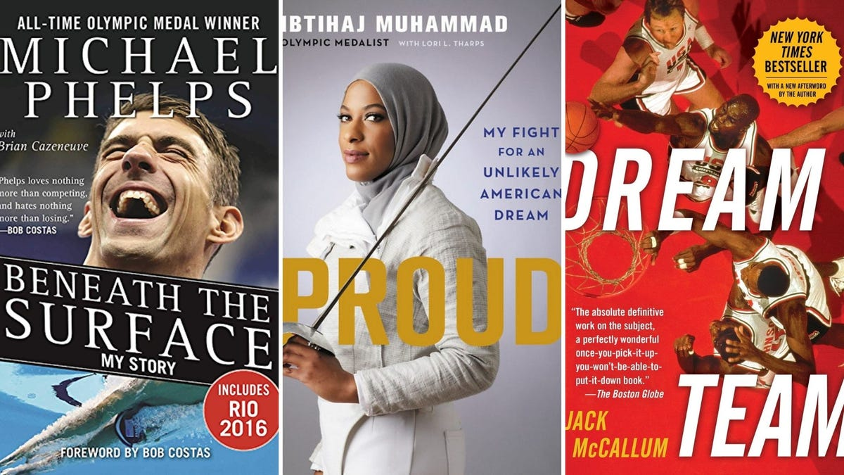"""""""Beneath the Surface"""" by Michael Phelps, """"Proud: My Fight for an Unlikely American Dream"""" by Ibtihaj Muhammad, and """"Dream Team"""" by Jack McCallum."""