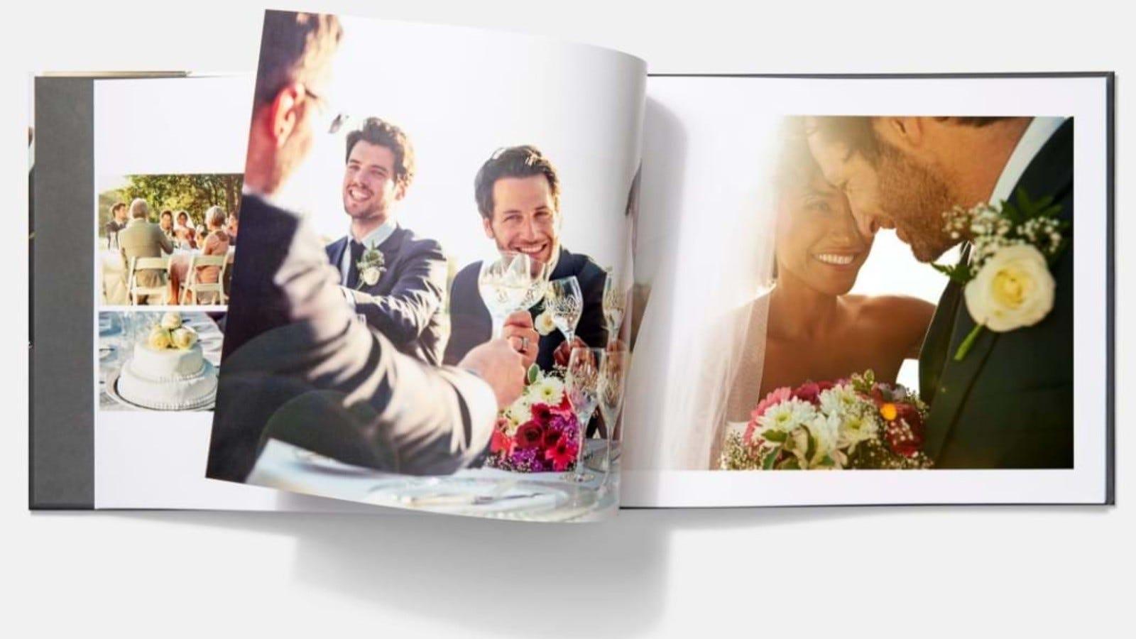 wedding photo album laying open