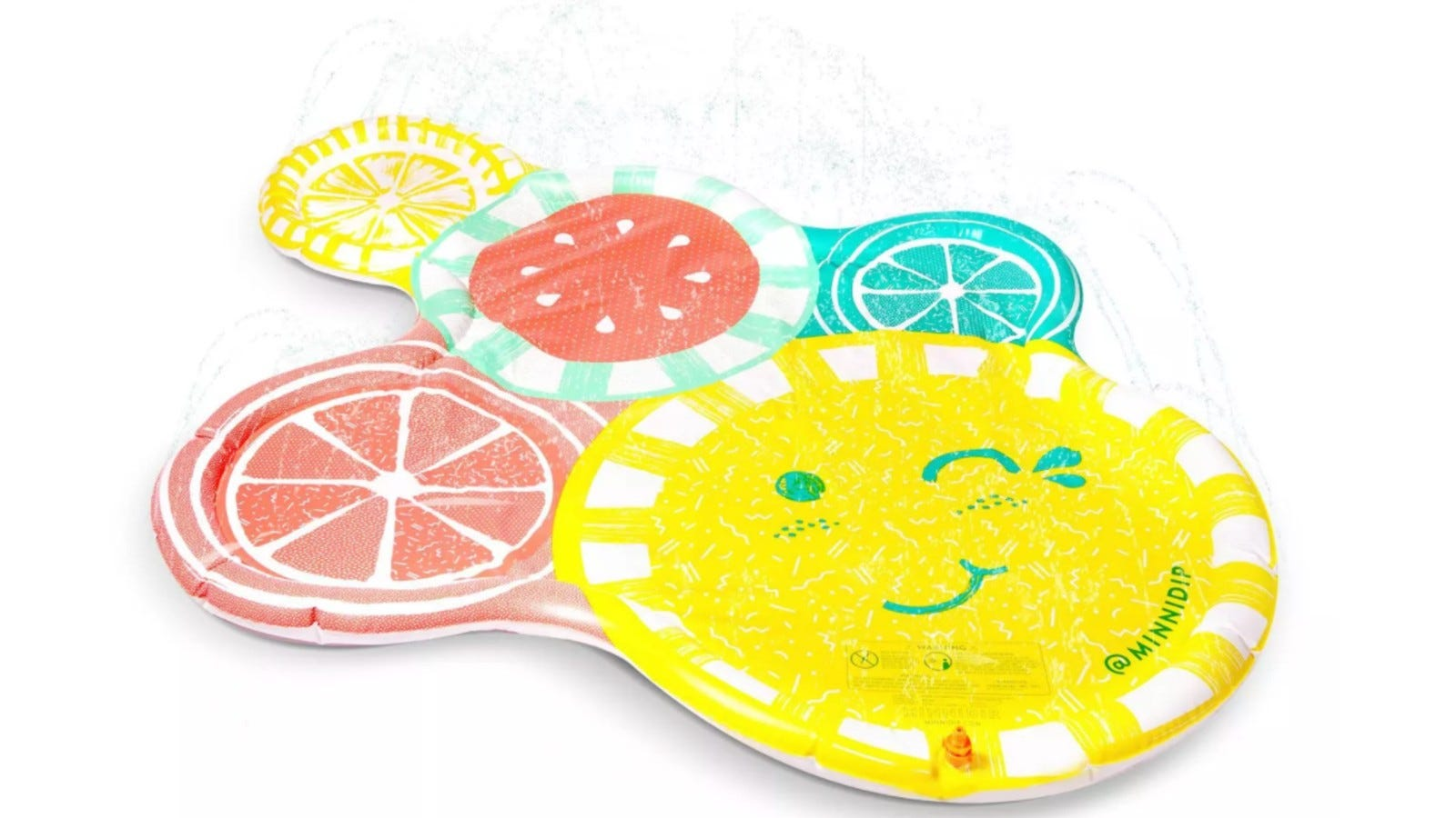 splash pad decorated with colorful fruit slices like a lemon and watermelon