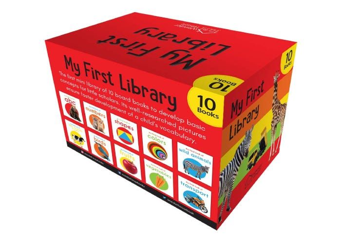 colorful box of 10 baby learning books
