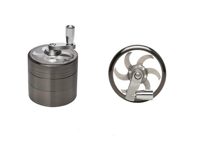 silver crank handled herb grinder with blade
