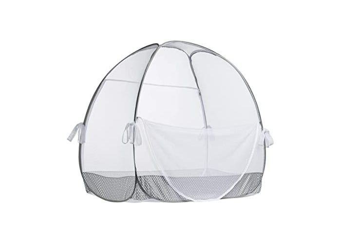 fully assembled white mesh crib tent displayed on white background
