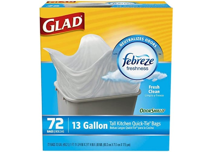 A yellow and blue box of white garbage bags.