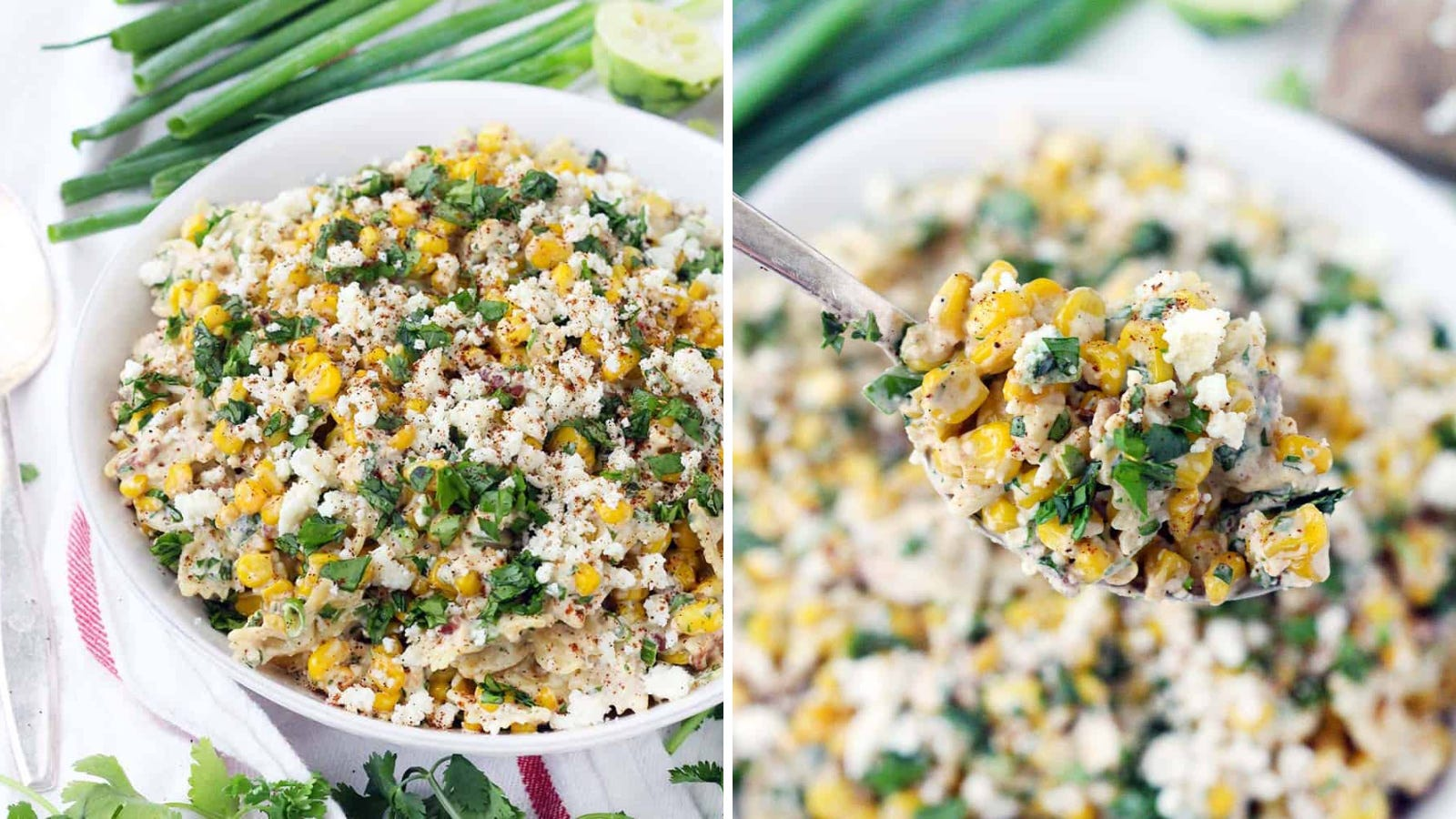 Two images: The left image is of Mexican street corn pasta salad in a bowl with green onions in the background and the right image is of a bowl of the pasta salad with a spoonful zoomed in.