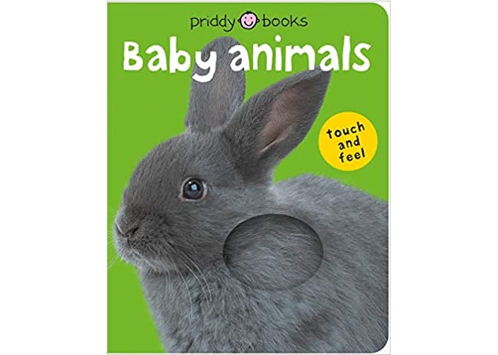 baby animals book with a gray rabbit with a fur patch on the cover