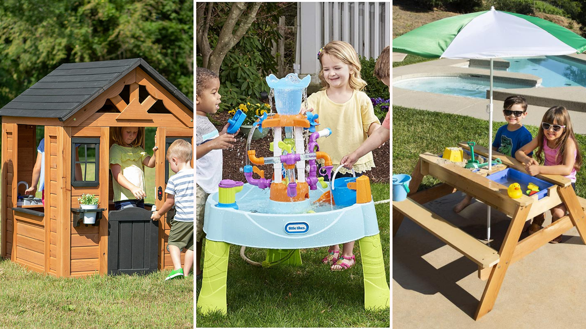 a photo of a wooden playhouse for kids/a blue water table with kids playing/a kid's picnic table with umbrella