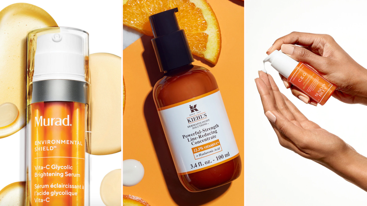 three different bottles of Vitamin C serums, one with drops of serum behind it, one over slices of oranges, and one being held in two hands