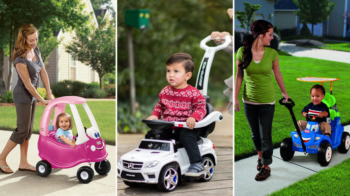 a photo of a mom pushing her daughter in a pink coupe/a little boy riding in a white Mercedes/a mom pulling her son in a blue Little Tikes car