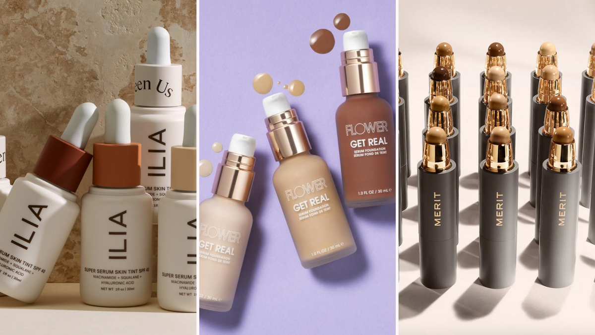 white bottles of Ilia foundation on brown background/three bottles of Flower Beauty foundation In various shades/tubes of Merit foundation in various shades
