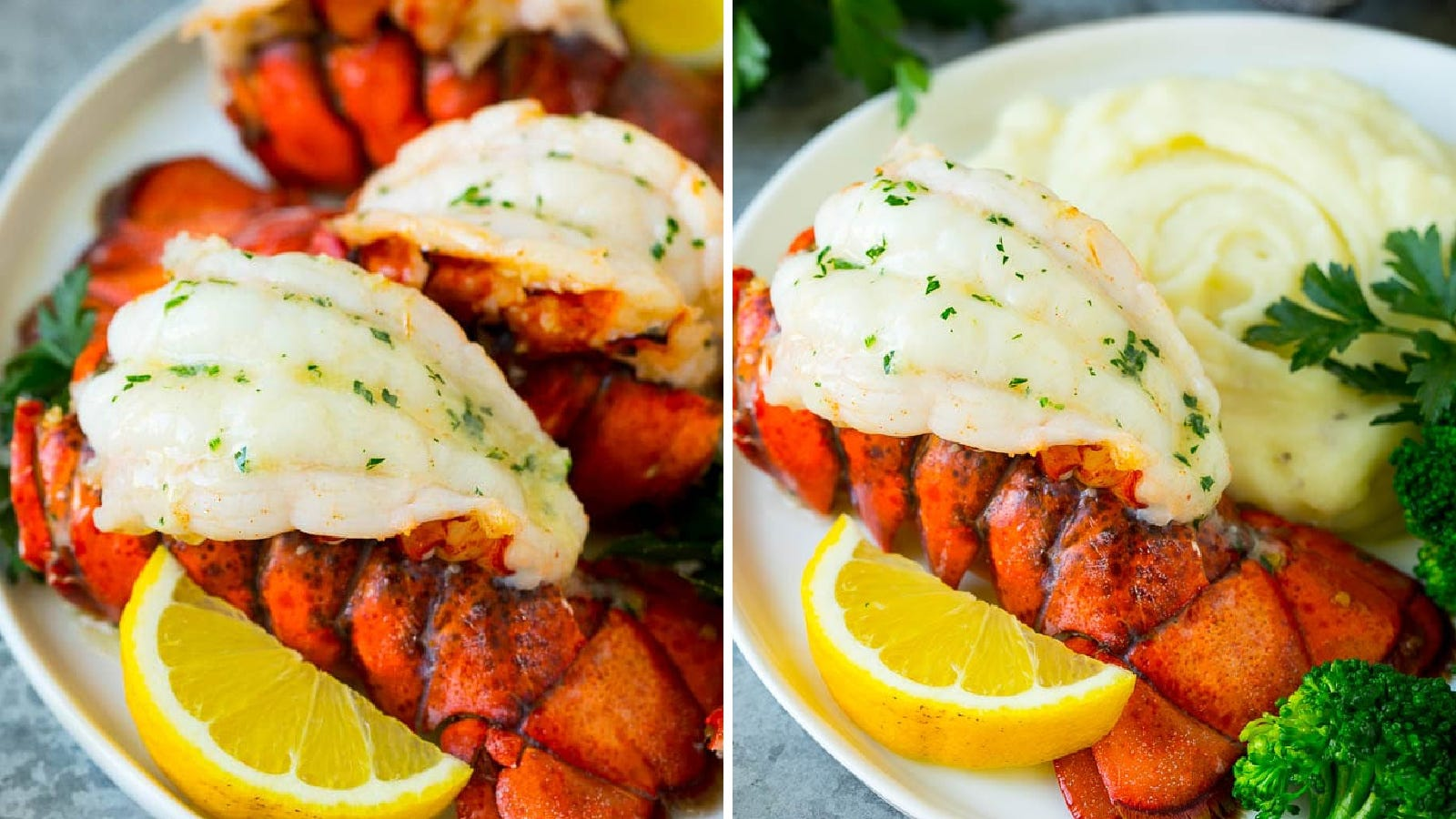 Two images featuring broiled lobster tail, topped with garlic herbed butter, by Dinner at the Zoo