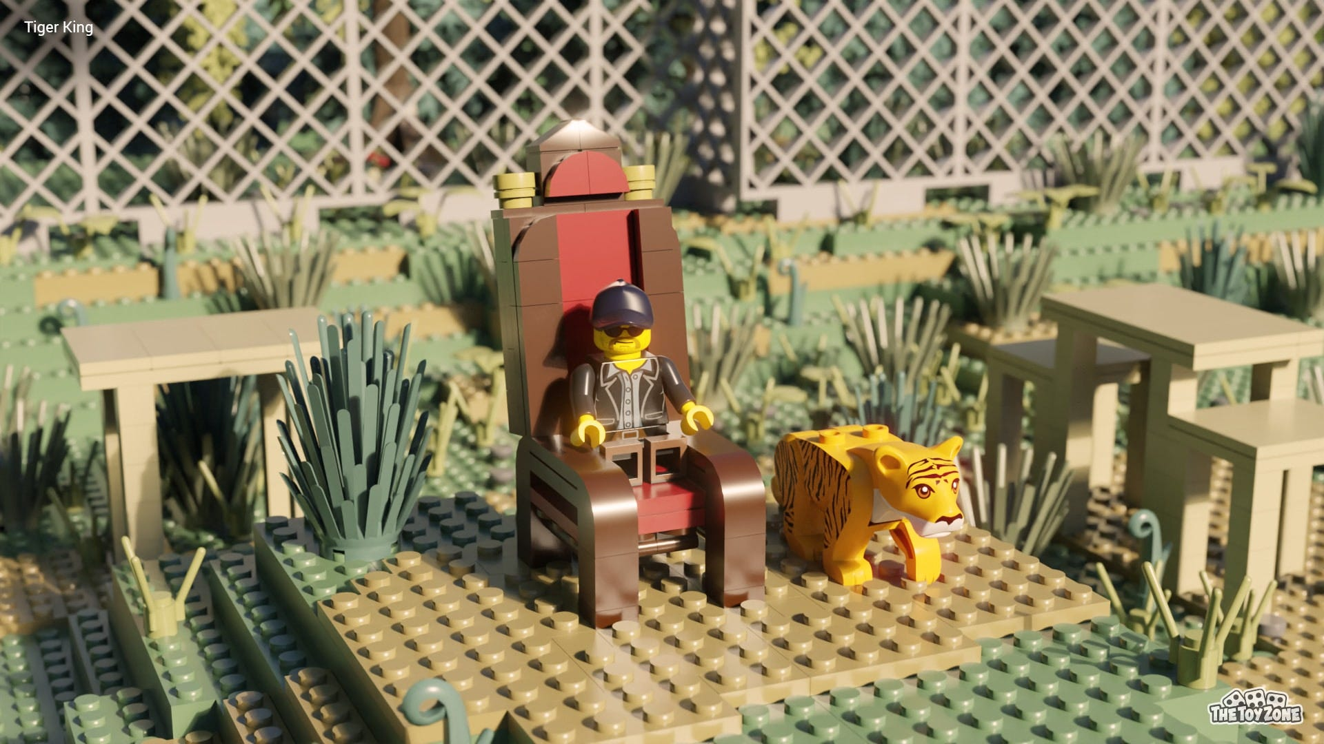 The LEGO Minifigure version of Joe Exotic sits on a throne next to a LEGO tiger.