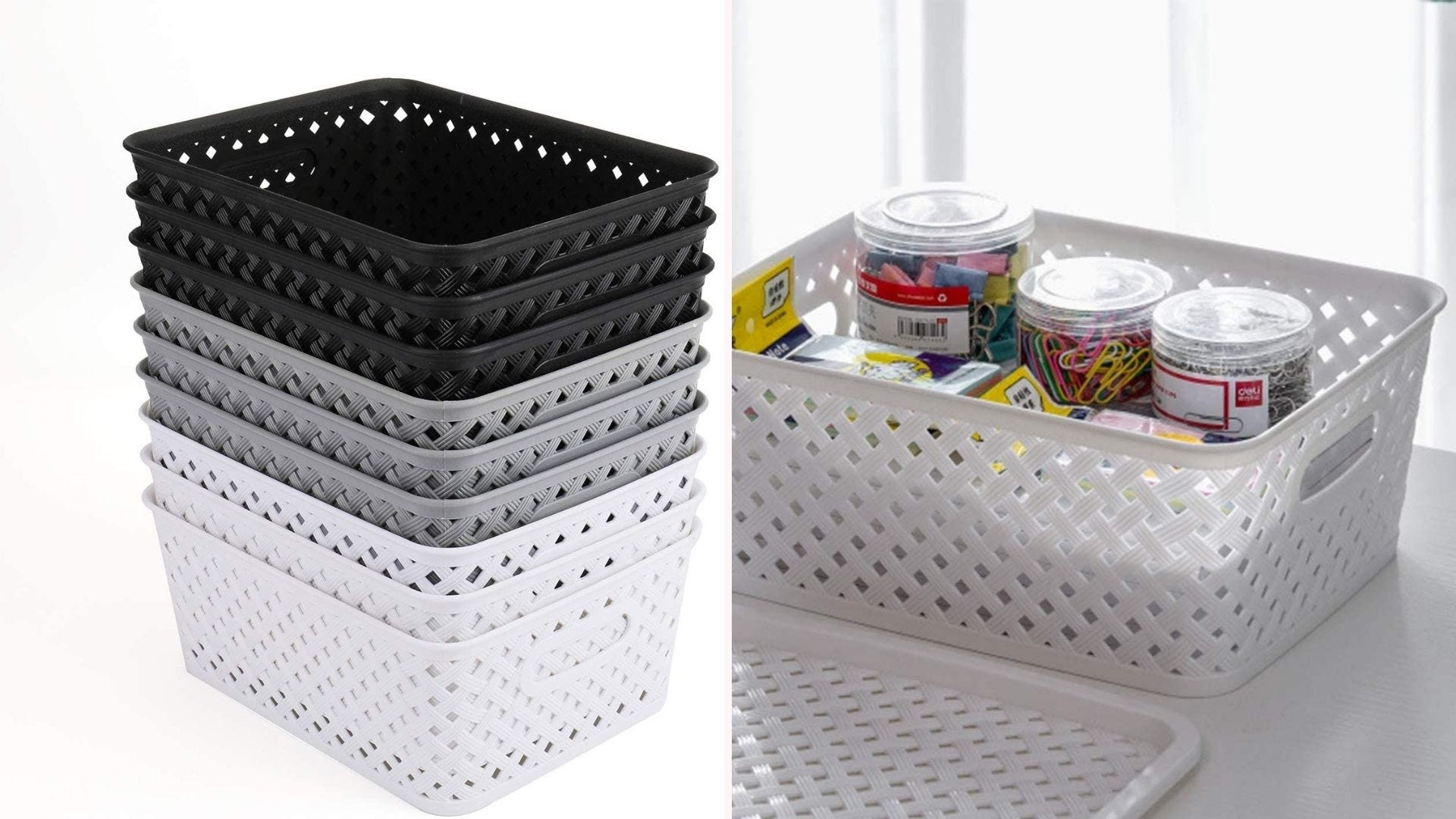 Plastic storage baskets in gray, white, and black.