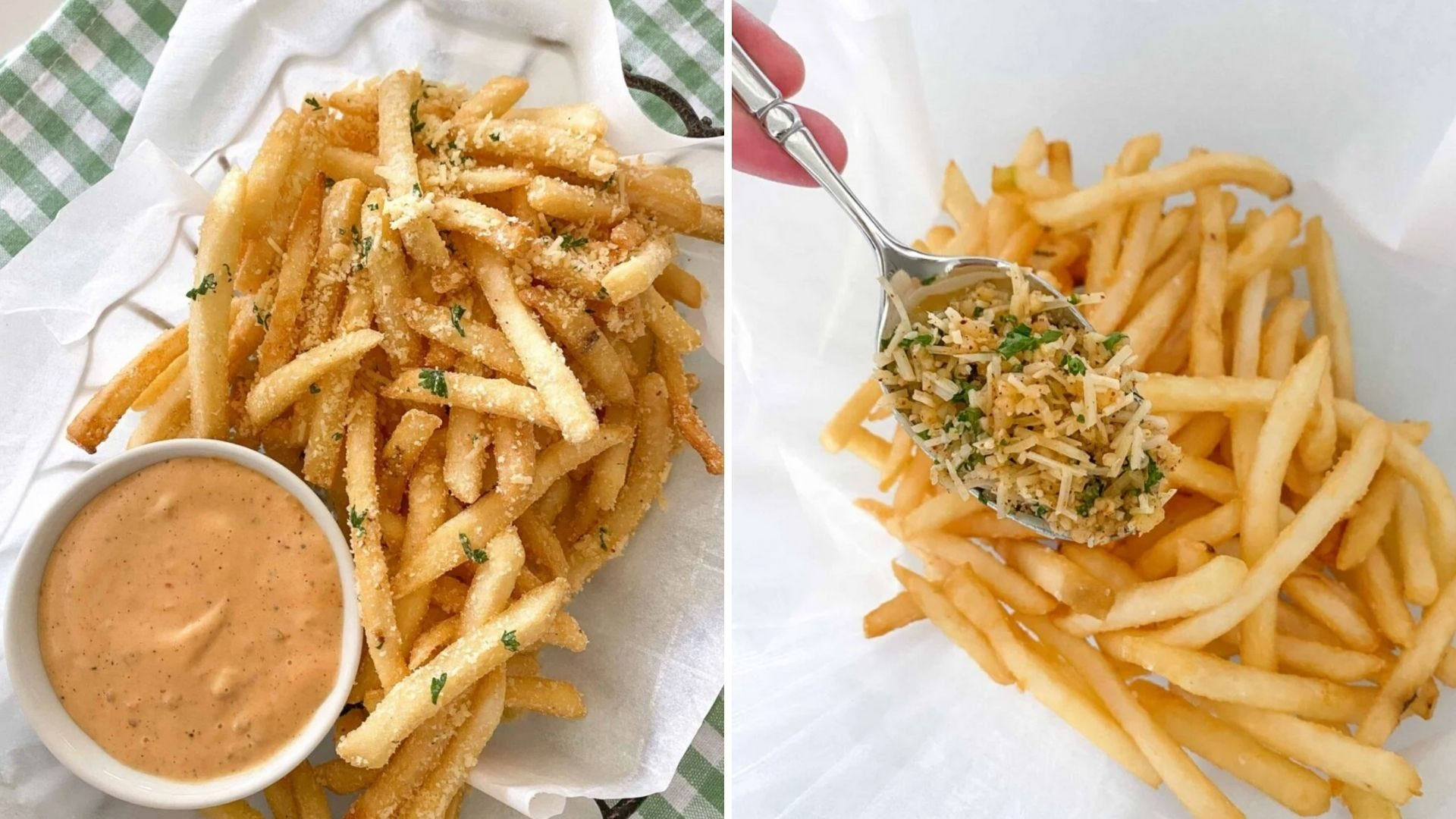 A basket of seasoned fries with a dipping sauce and someone pours a spoonful of seasoning on fries