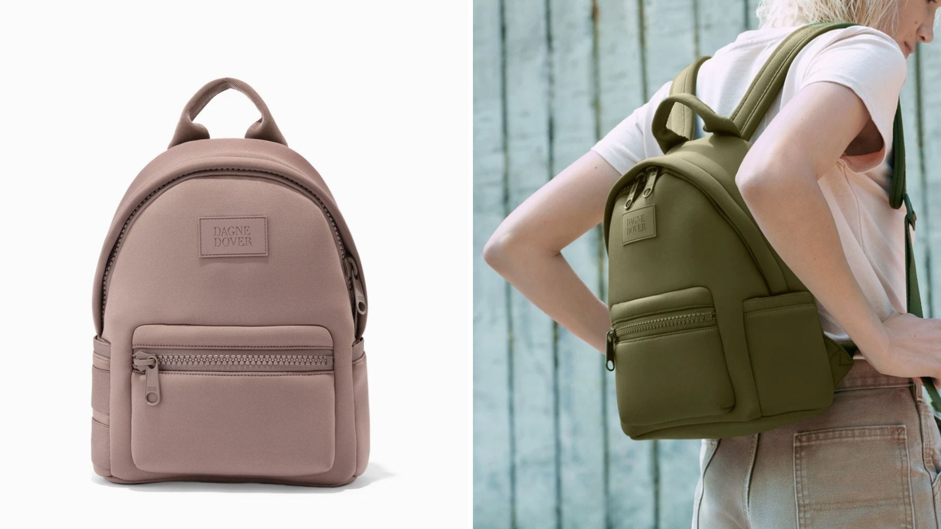 A light pink backpack and a woman carries a olive green backpack