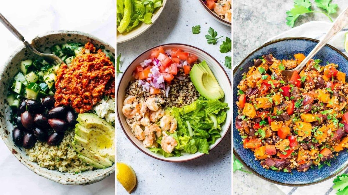 Three quinoa bowls.