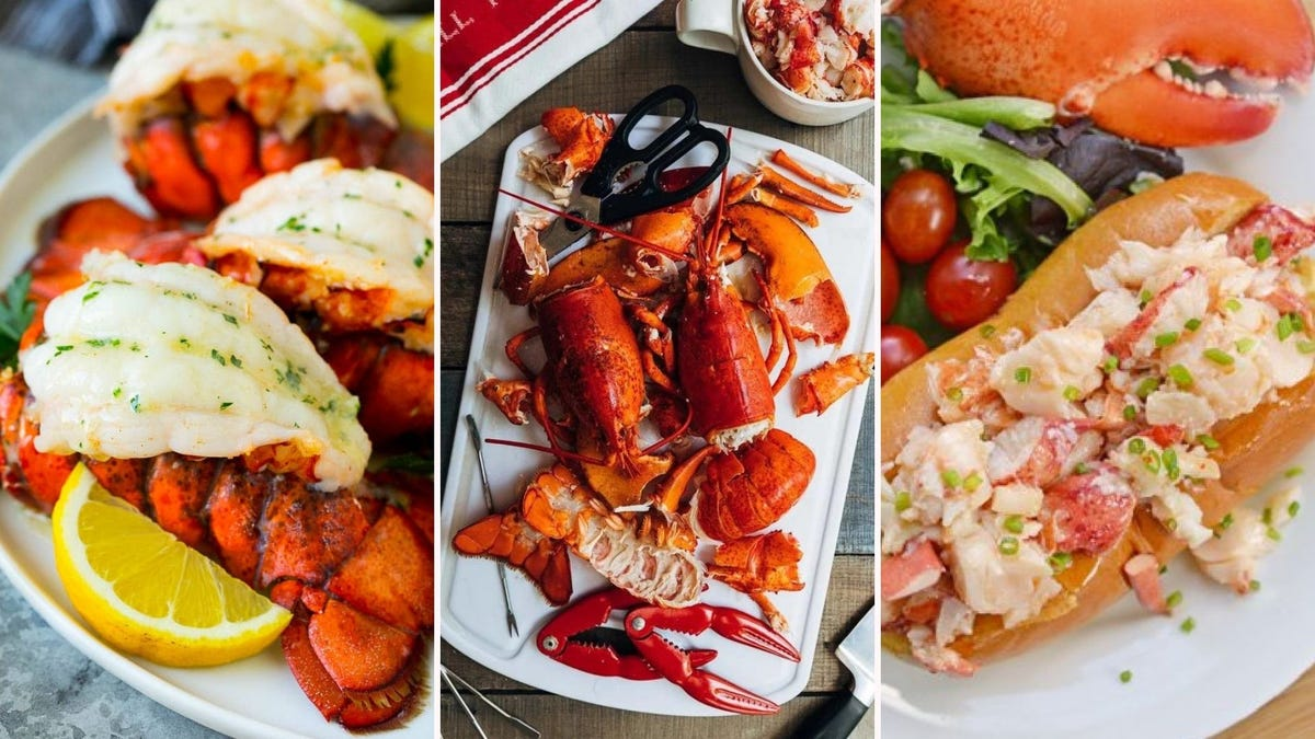 Broiled lobster tails, a steamed lobster on a plate, and a Connecticut-style lobster roll.