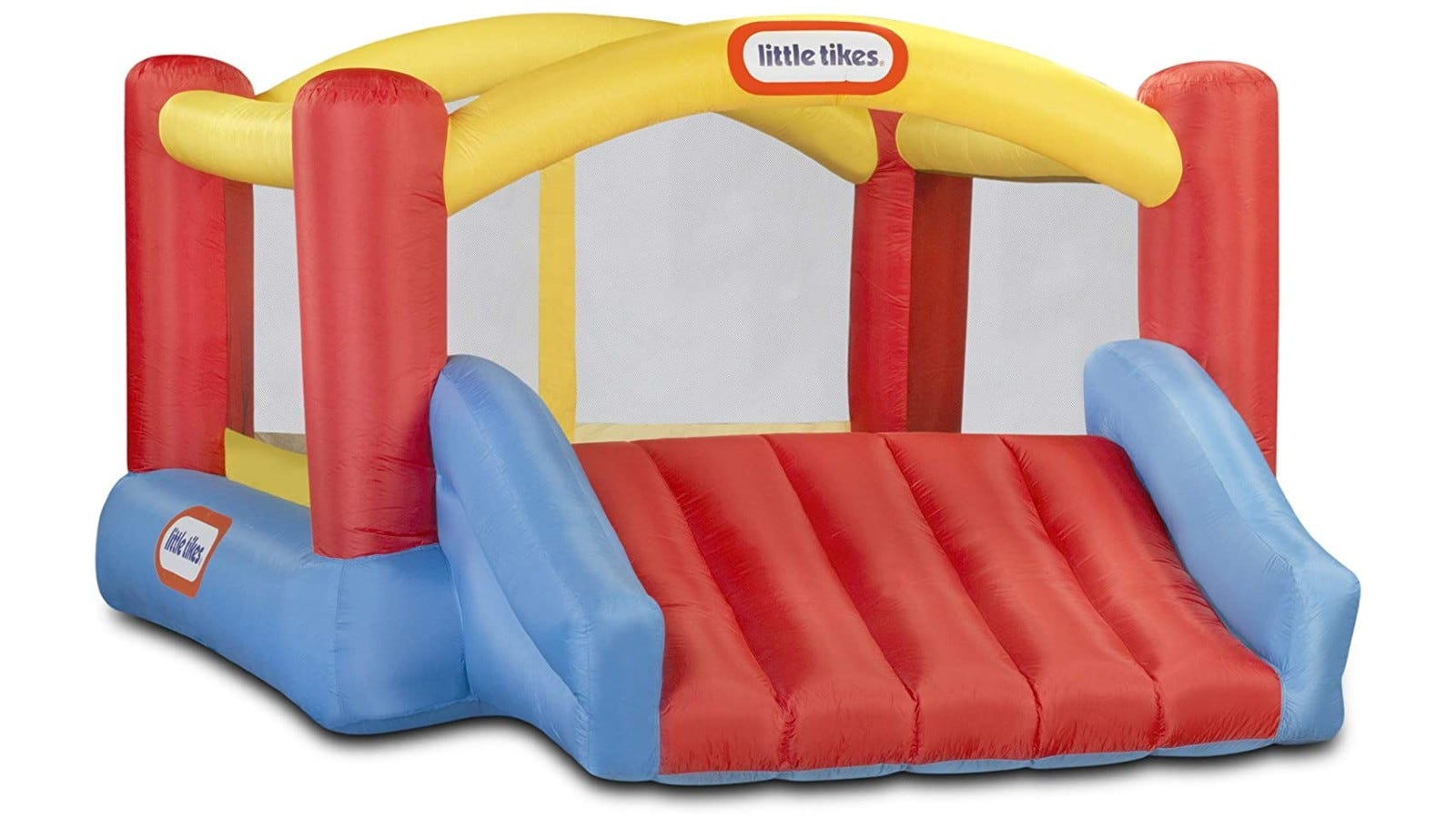 red, yellow, and blue bouncer with a wide slide