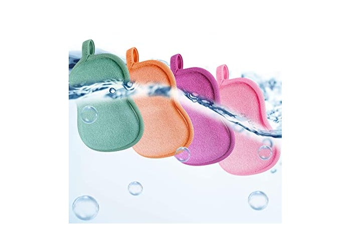 four multicolored bath sponges displayed underwater