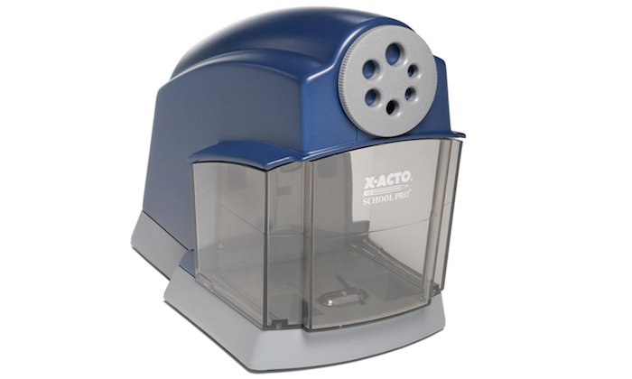 see through and dark blue electric pencil sharpener with multiple sized pencil holes