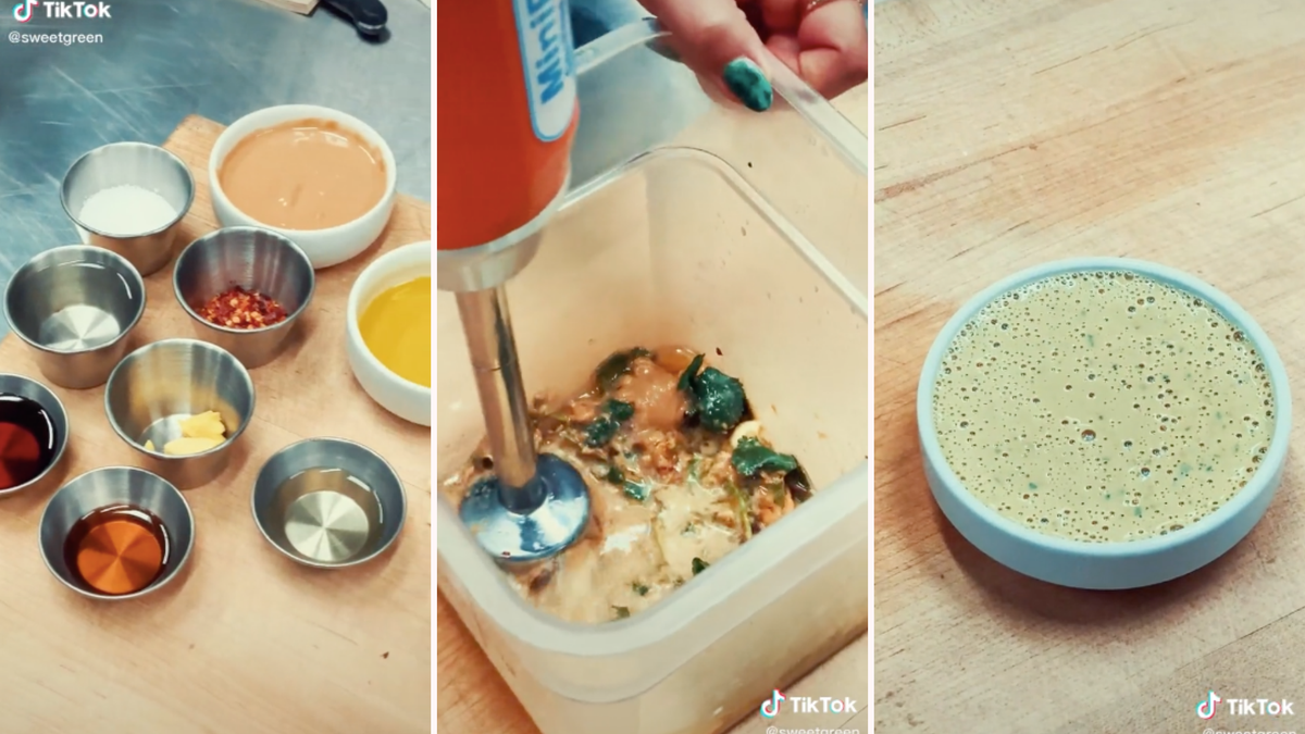 Someone combining the ingredients to make Sweetgreen's spicy cashew dressing, blending them with a hand mixer, and a bowl of the finished dressing.