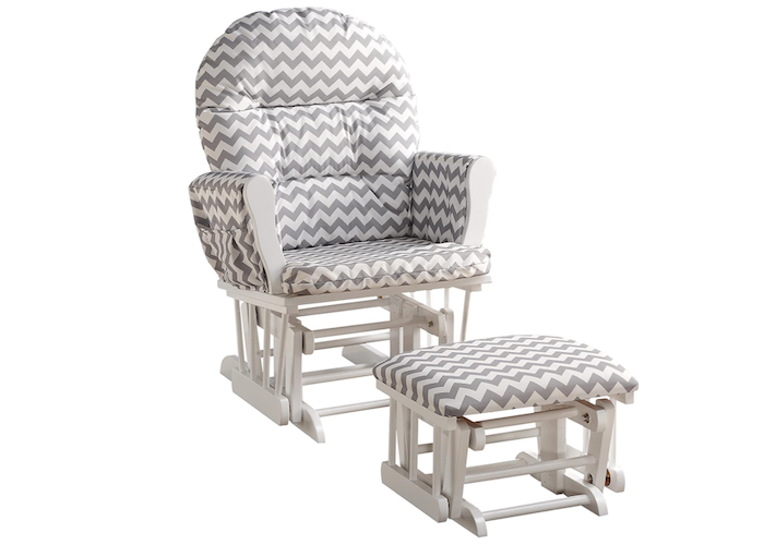 white nursing chair and ottoman decorated with gray chevron stripes