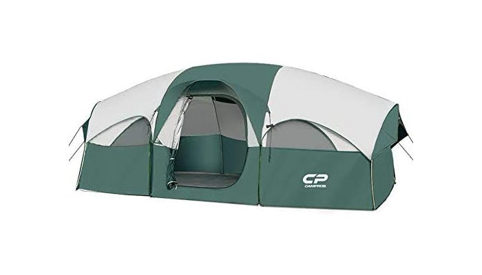 a gray and cream large tent with room dividers and a rainfly