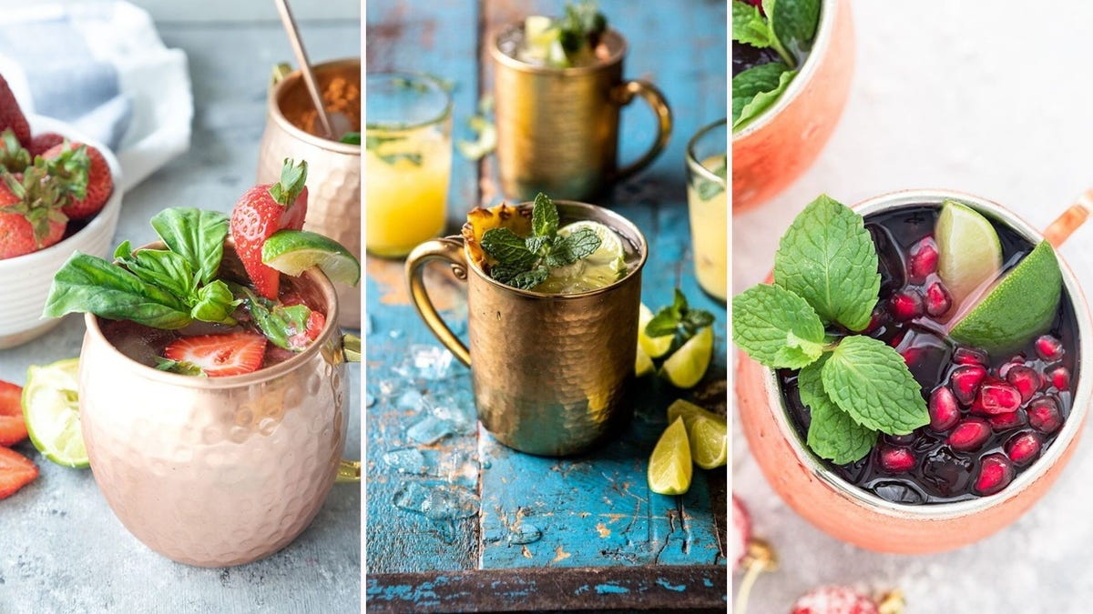 three images displaying moscow mules from the article below. The left image features a strawberry basil Moscow mule by The Home Cooks Kitchen, the middle image features pineapple orange mules by Half baked Harvest, and the right image features a pomegranate mule by Easy As Apple Pie.
