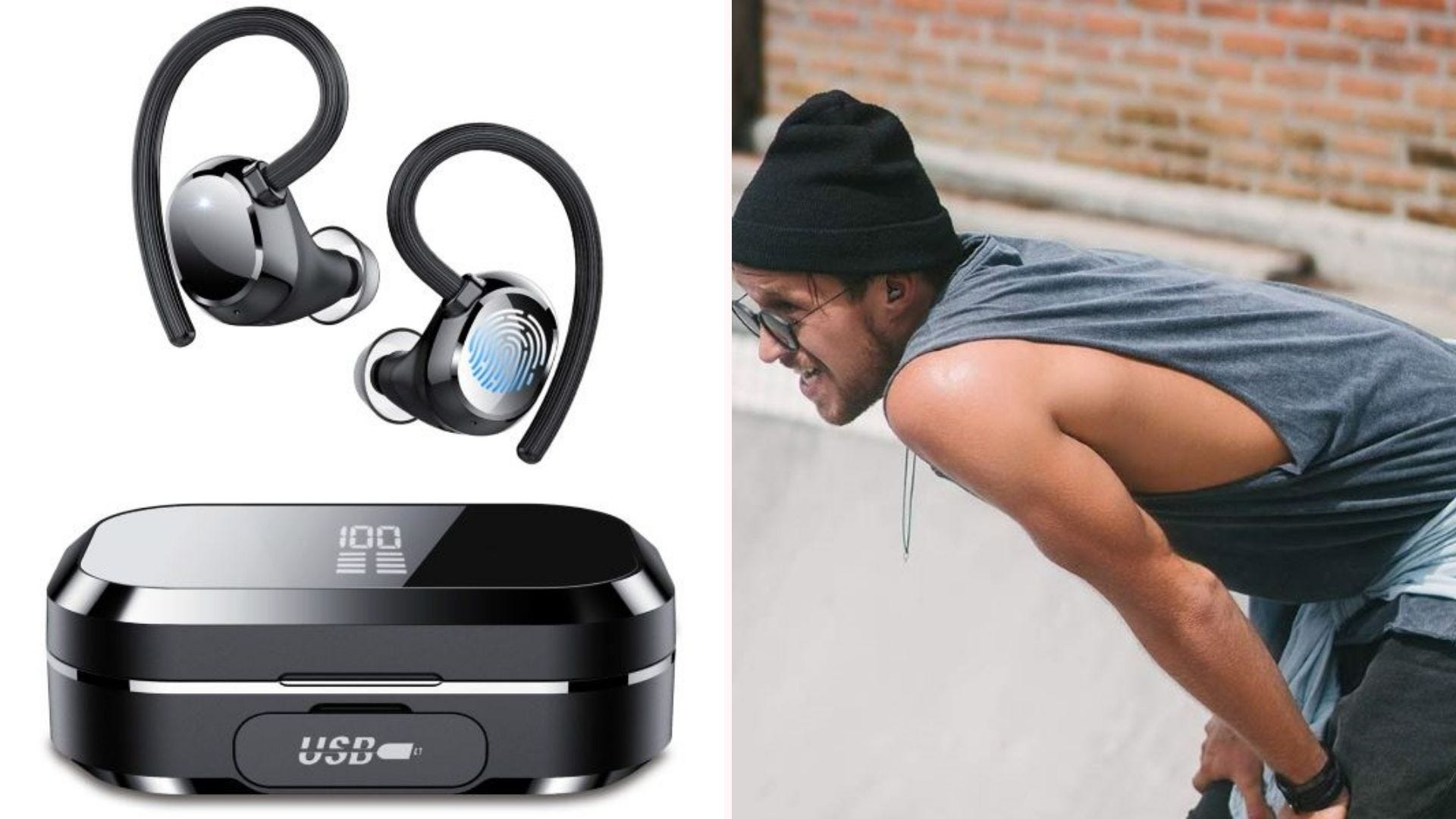Tiksounds True Wireless Earbuds and case, and a man wearing them.