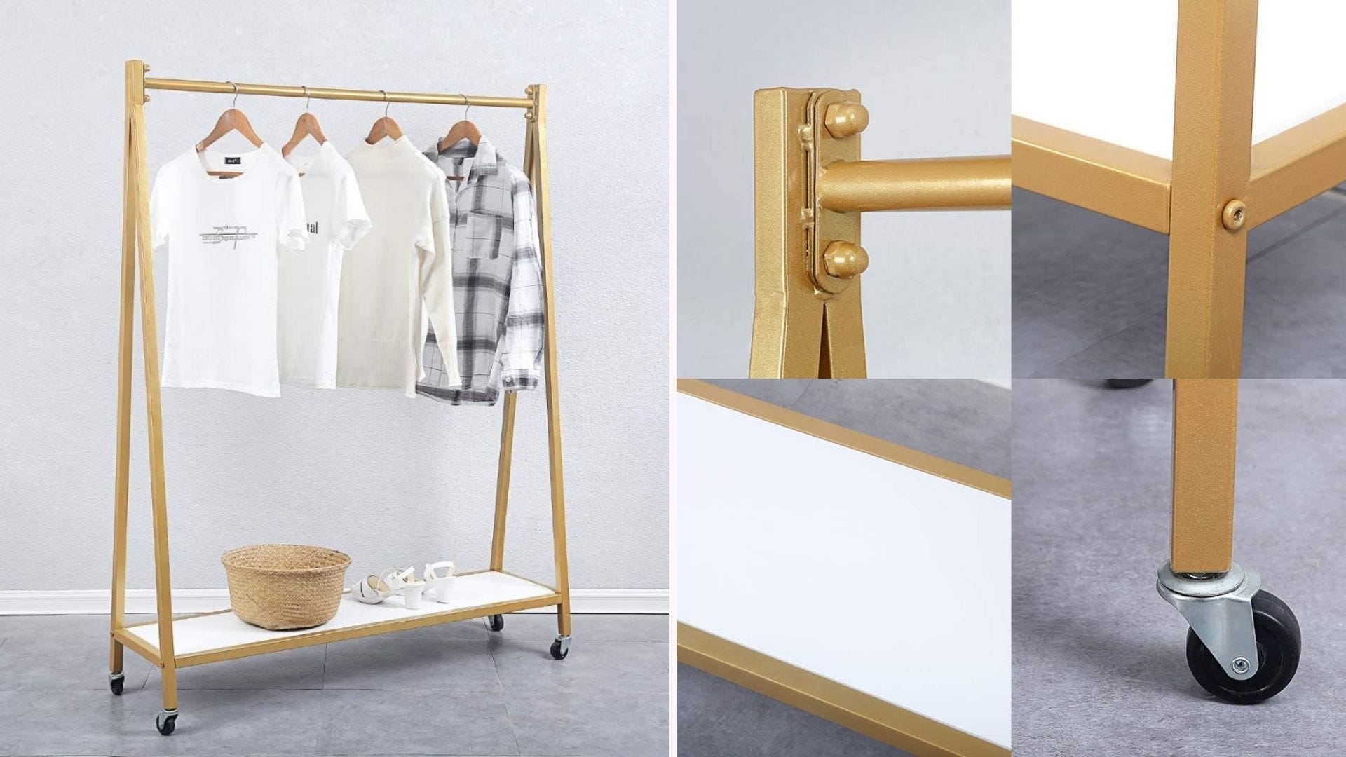 A retro iron clothing rack in gold with clothes hanging on it, and closeups of the rack, shelf, and a caster.