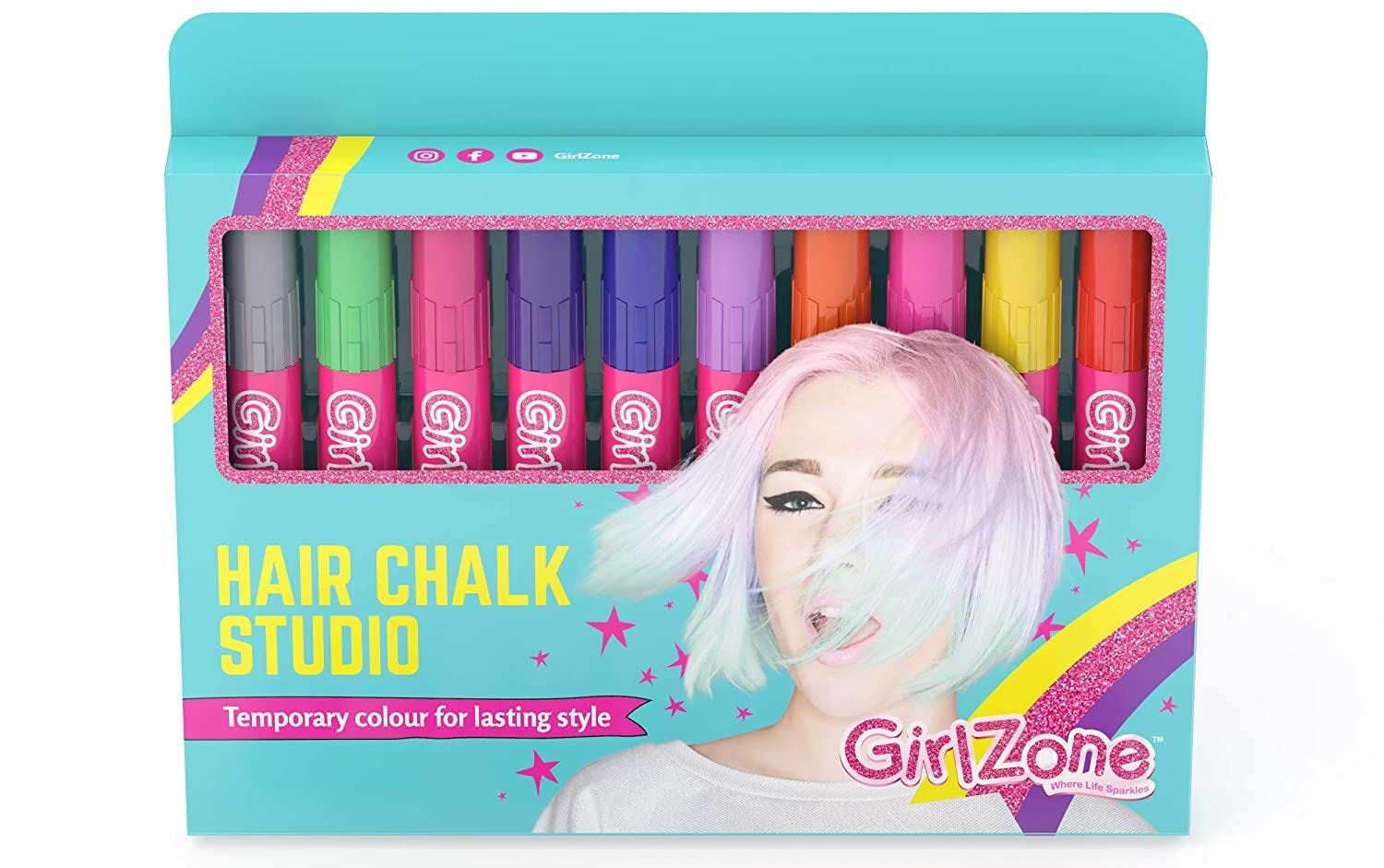 """A turquoise box filled with colorful hair chalk """"markers"""""""