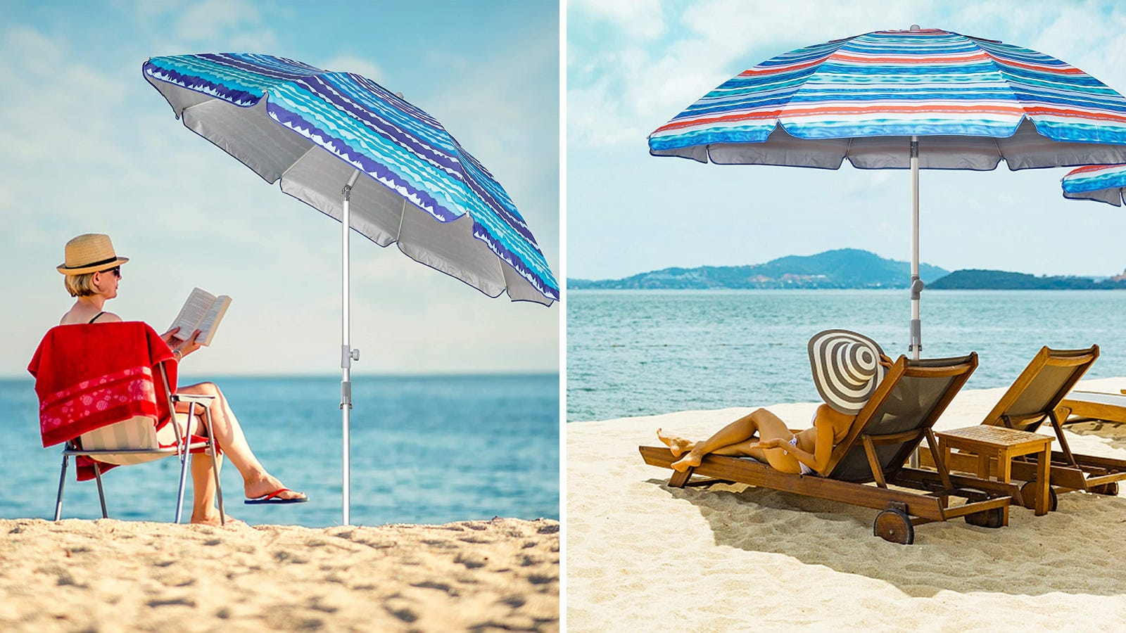 Two images of women enjoying a warm day on the beach, catching shade with the Blissun beach umbrella.