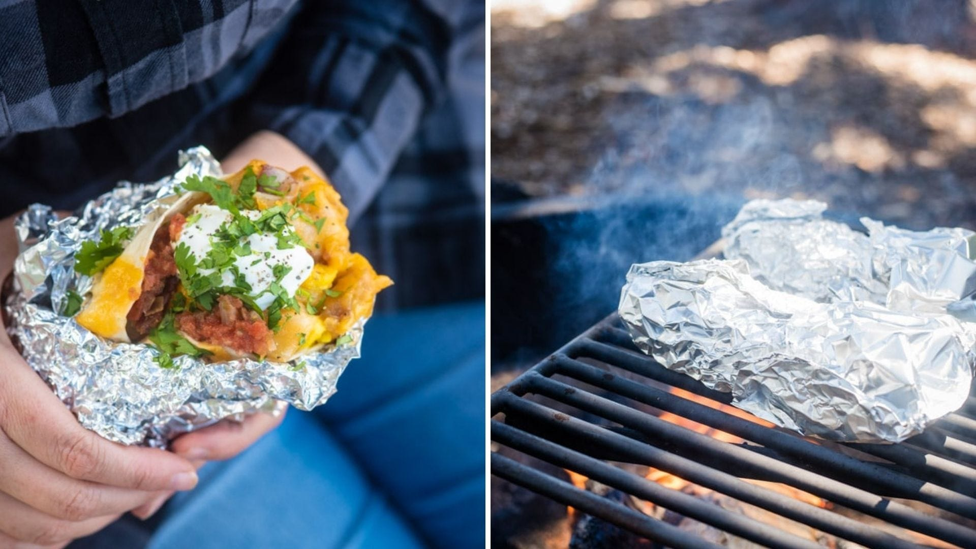 Someone holds a breakfast burrito and burritos wrapped in foil cook over a campfire