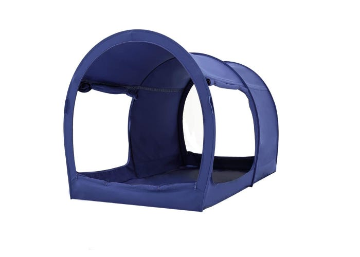 popped-up dark blue toddler tent bed