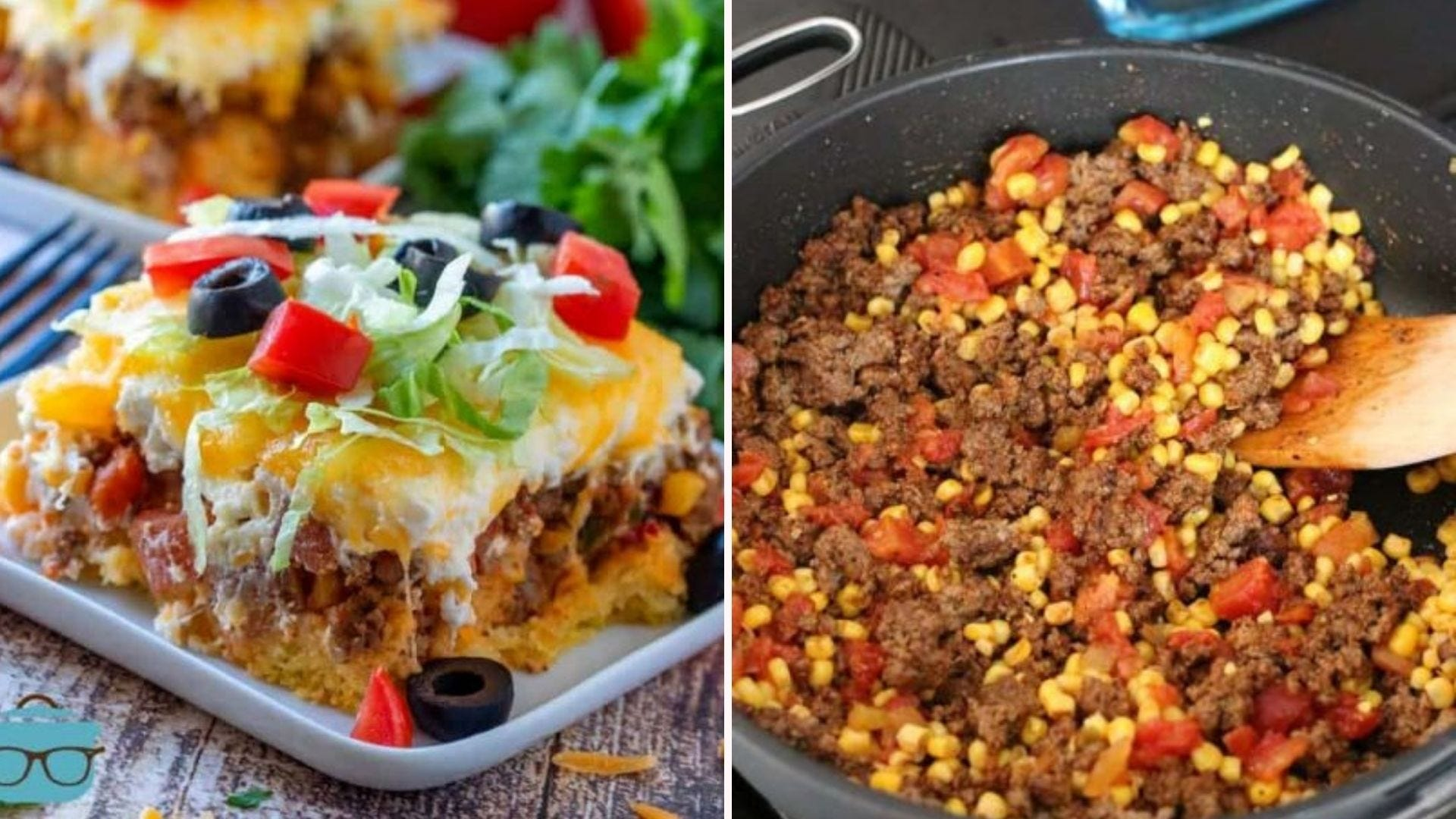 A piece of Cornbread Taco Bake on a plate, and meat, corn, and tomatoes cooking in a skillet.