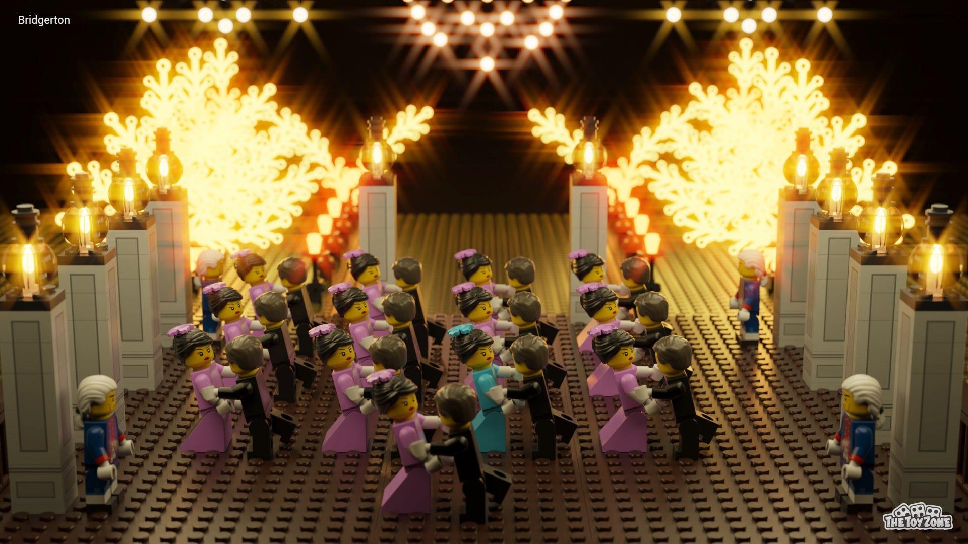 "LEGO Minifigures dancing in a famous scene from ""Bridgerton."""